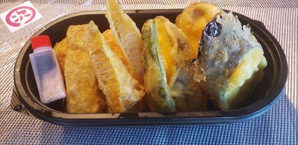 とうもろこしと茄子の天ぷら盛り