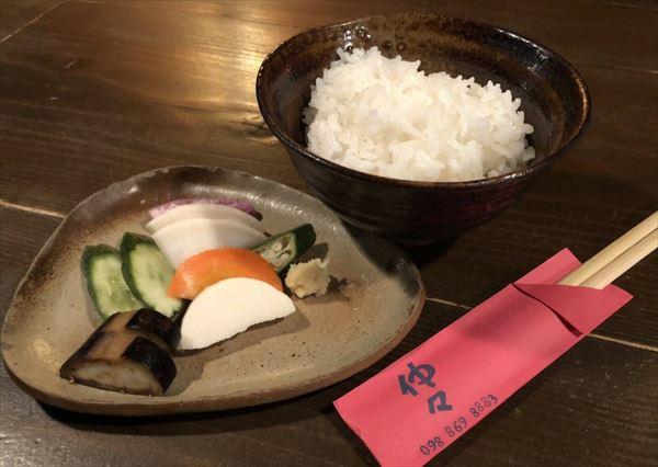 三田米のご飯と自家製ぬか漬け